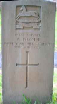 inscription reads: 19733 private/ a north/ west yorkshire regiment/ 2nd june 1916
