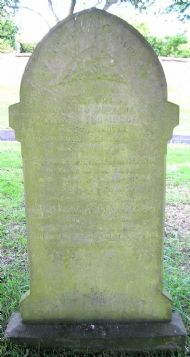 gravestone of henry & isabella thompson. inscription to their grandson harry reads: john henry (harry)/ beloved son of john and mary thompson/ killed in france 14th march 1916/ aged 21 years